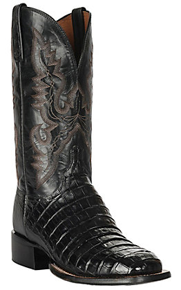 Lucchese 1883 Men's Black Belly Caiman Tail Square Toe Exotic Western Boots
