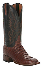 Lucchese 1883 Men's Barrel Cognac Caiman Tail & Smooth Ostrich Exotic Square Toe Boots