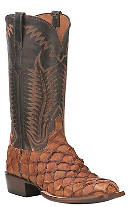 Lucchese 1883 Men's Cognac Pirarucu with Chocolate Burnished Mad Dog Goat Upper Exotic Square Toe Boots