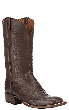 Lucchese Men's Lance Sienna Smooth Ostrich Wide Square Toe Exotic Western Boots