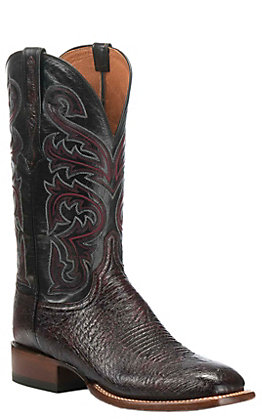 Lucchese Men's Lance Black Cherry Smooth Ostrich Wide Square Toe Exotic Western Boots