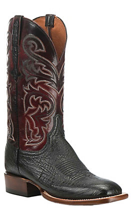 Lucchese Men's Lance Black Smooth Ostrich and Black Cherry Wide Square Toe Exotic Western Boots