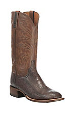 Lucchese 1883 Men's Tan with Chocolate Burnish Ostrich Leg Exotic Square Toe Boots