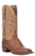 Lucchese Men's Brown with Tan Upper Smooth Ostrich Exotic Square Toe Boots