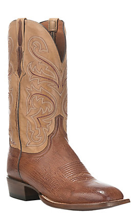 Lucchese Men's Lance Antique Saddle Smooth Ostrich Wide Square Toe Exotic Western Boots