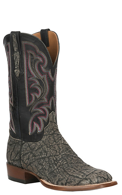 28773a694d2 Lucchese Men's Grey Iron and Black Elephant Exotic Wide Square Toe Boots