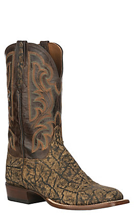 Lucchese Men's Saddle Tan and Chocolate Elephant Exotic Wide Square Toe Boots