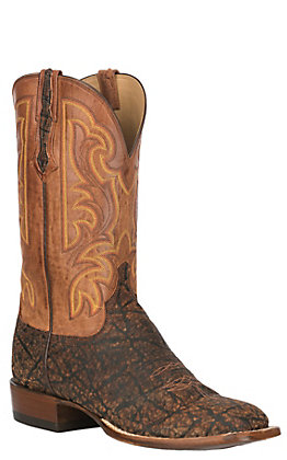 Lucchese Men's Cognac and Peanut Brittle Elephant Exotic Wide Square Toe Boots