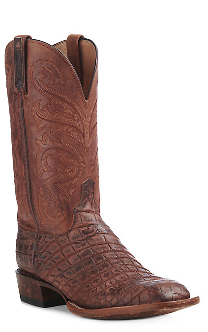 a8979609417 Lucchese Men's Peanut Brittle American Alligator Wide Square Exotic Boots