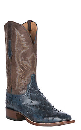 Lucchese Cliff Men's Antique Navy Full Quill Ostrich Wide Square Toe Exotic Western Boots