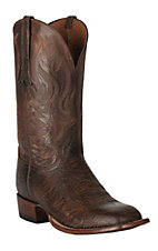 Lucchese 1883 Men's Cognac Bison with Pearwood Upper Square Toe Double Welt Horseman Boots