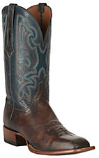 Lucchese 1883 Men's Antique Pearwood Goat with Garganey Blue Upper Square Toe Double Welt Horseman Boots