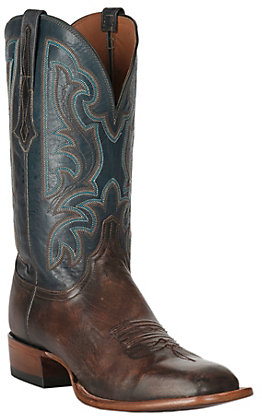 Lucchese Men's Brock Pearwood Dark Brown and Garganey Blue Goat Wide Square Toe Western Boots