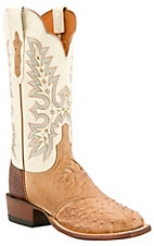 XCELucchese Cowgirl Ladies Tan Full Quill Ostrich w/ Ivory Exotic Square Toe Boots