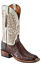 Lucchese Mens Brown Full Quill Ostrich w/ Ivory Top Double Welt Square Toe Western Boot