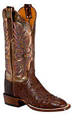 XCELucchese CowgirlLadies Brown Full Quill Ostrich Metallic Top Exotic Square Toe Boot