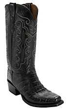 Lucchese 1883 Men's Black Ultra Belly Caiman 7-Toe Narrow Punchy Toe Exotic Western Boots