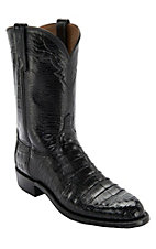 Lucchese 1883 Men's Black Ultra Belly Caiman Exotic Roper Boots