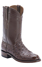 Lucchese 1883 Men's Sienna Brown Full Quill Ostrich Exotic Roper Boots