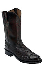 Lucchese 1883 Men's Black Cherry Full Quill Ostrich Exotic Roper Boots