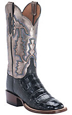 Lucchese1883 Women's Black Crocodile Tail with Pewter Top Square Toe Exotic Boot