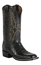 Lucchese Cowboy Collection Men's Black Ultra Belly Caiman Tail Exotic Square Toe Boots
