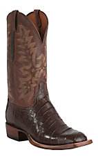 Lucchese Cowboy Collection Men's Sienna Ultra Belly Caiman Tail Exotic Square Toe Boots