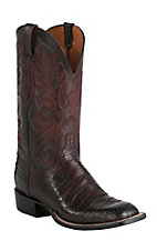 Lucchese Cowboy Collection Men's Black Cherry Ultra Belly Caiman Tail Exotic Square Toe Boots