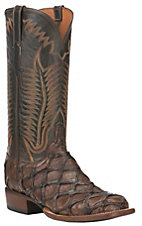 Lucchese 1883 Men's Chocolate Pirarucu with Chocolate Burnished Mad Dog Goat Upper Exotic Square Toe Boots