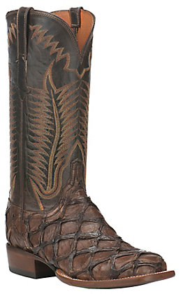 Lucchese Men's Chocolate Pirarucu Wide Square Toe Exotic Western Boots