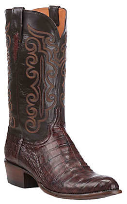 Lucchese Men's Barrel Brown Caiman Belly R-Toe Exotic Western Boots