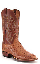 Lucchese Men's Tan with Barnwood Burnish Full Quill Ostrich Exotic Square Toe Boots
