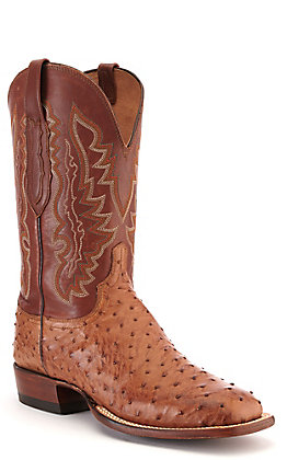 Lucchese Men's Tan and Barnwood Full Quill Ostrich Square Toe Exotic Western Boots
