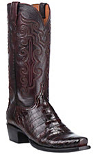 Lucchese Men's Black Cherry Caiman Belly Exotic Snip Toe Boots