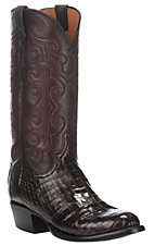 Lucchese Men's Black Cherry Caiman Belly Exotic Round Toe Boots