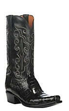 Lucchese Men's Black Caiman Belly Snip Toe Exotic Boots
