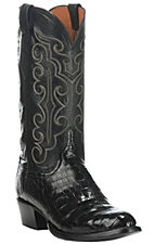 Lucchese Men's Black Caiman Belly Exotic Round Toe Boots
