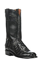 Lucchese Men's Black Ultra Belly Caiman Exotic Roper Boots