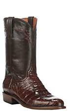 Lucchese Men's Chocolate with Sienna Upper Caiman Belly Exotic Roper Boots
