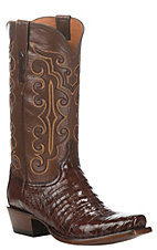Lucchese Men's Brown with Sienna Upper Caiman Belly Exotic Snip Toe Boots
