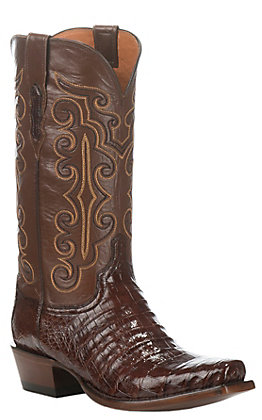 Lucchese Men's Brown & Sienna Ultra Belly Caiman Snip Toe Exotic Western Boots