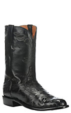 Lucchese Men's Black Full Quill Ostrich Exotic Roper Boots