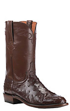 Lucchese Men's Sienna with Antique Brown Upper Full Quill Ostrich Exotic Roper Boots