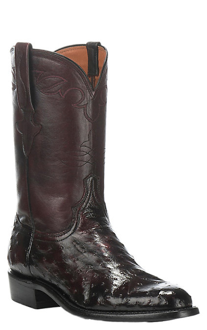7475b8c1dd3 Lucchese Men's Black Cherry Full Quill Ostrich Exotic Roper Boots