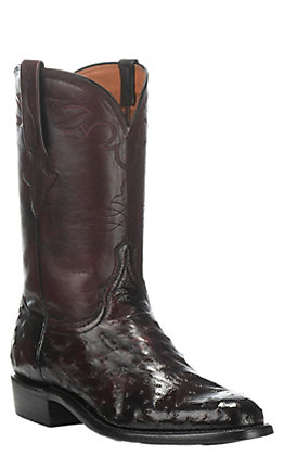 Lucchese Men's Black Cherry Full Quill Ostrich Exotic Roper Boots