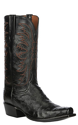 Lucchese Men's Black Ostrich Pin Punchy Toe Exotic Western Boots