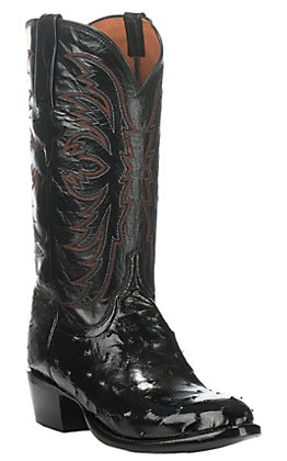 Lucchese Men's Black Full Quill Ostrich Exotic Round Toe Boots
