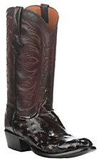 Lucchese Men's Black Cherry Full Quill Exotic Round Toe Boots