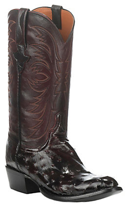 Lucchese Men's Black Cherry Full Quill Round Toe Exotic Western Boots