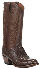 Lucchese Men's Brown with Sienna Upper Full Quill Exotic Round Toe Boots